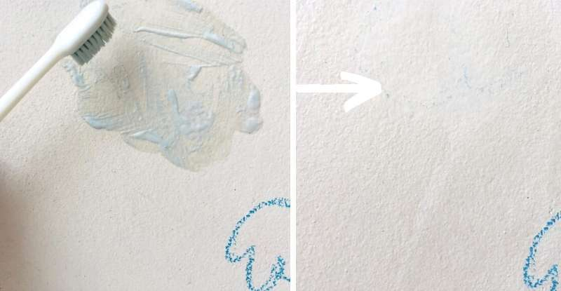Toothpaste method to remove crayon stain
